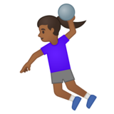 Woman Playing Handball: Medium-Dark Skin Tone on Google Android 10.0 March 2020 Feature Drop