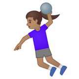 Woman Playing Handball: Medium Skin Tone on Google Android 10.0 March 2020 Feature Drop