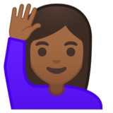 Woman Raising Hand: Medium-Dark Skin Tone on Google Android 10.0 March 2020 Feature Drop