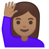 Woman Raising Hand: Medium Skin Tone on Google Android 10.0 March 2020 Feature Drop