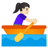 Woman Rowing Boat: Light Skin Tone on Google Android 10.0 March 2020 Feature Drop
