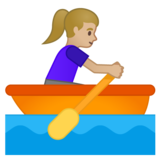 Woman Rowing Boat: Medium-Light Skin Tone on Google Android 10.0 March 2020 Feature Drop