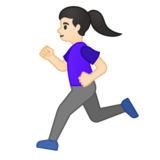 Woman Running: Light Skin Tone on Google Android 10.0 March 2020 Feature Drop