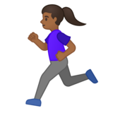 Woman Running: Medium-Dark Skin Tone on Google Android 10.0 March 2020 Feature Drop