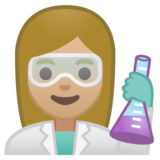 Woman Scientist: Medium-Light Skin Tone on Google Android 10.0 March 2020 Feature Drop