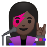 Woman Singer: Dark Skin Tone on Google Android 10.0 March 2020 Feature Drop