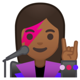 Woman Singer: Medium-Dark Skin Tone on Google Android 10.0 March 2020 Feature Drop