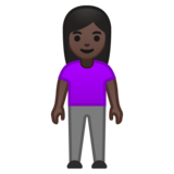 Woman Standing: Dark Skin Tone on Google Android 10.0 March 2020 Feature Drop