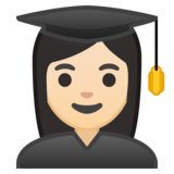 Woman Student: Light Skin Tone on Google Android 10.0 March 2020 Feature Drop