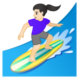 Woman Surfing: Light Skin Tone on Google Android 10.0 March 2020 Feature Drop