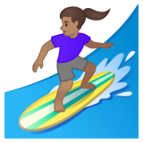 Woman Surfing: Medium Skin Tone on Google Android 10.0 March 2020 Feature Drop