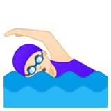 Woman Swimming: Light Skin Tone on Google Android 10.0 March 2020 Feature Drop