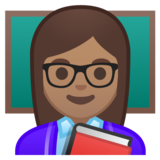 Woman Teacher: Medium Skin Tone on Google Android 10.0 March 2020 Feature Drop