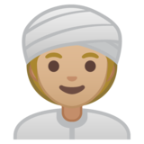 Woman Wearing Turban: Medium-Light Skin Tone on Google Android 10.0 March 2020 Feature Drop