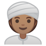 Woman Wearing Turban: Medium Skin Tone on Google Android 10.0 March 2020 Feature Drop