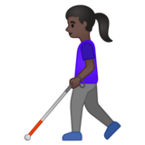Woman with White Cane: Dark Skin Tone on Google Android 10.0 March 2020 Feature Drop