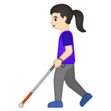 Woman with White Cane: Light Skin Tone on Google Android 10.0 March 2020 Feature Drop
