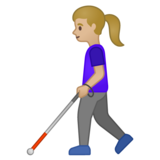 Woman with White Cane: Medium-Light Skin Tone on Google Android 10.0 March 2020 Feature Drop