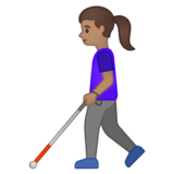 Woman with White Cane: Medium Skin Tone on Google Android 10.0 March 2020 Feature Drop