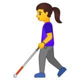 Woman with White Cane on Google Android 10.0 March 2020 Feature Drop