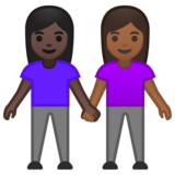 Women Holding Hands: Dark Skin Tone, Medium-Dark Skin Tone on Google Android 10.0 March 2020 Feature Drop