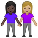 Women Holding Hands: Dark Skin Tone, Medium-Light Skin Tone on Google Android 10.0 March 2020 Feature Drop