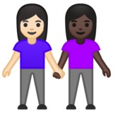 Women Holding Hands: Light Skin Tone, Dark Skin Tone on Google Android 10.0 March 2020 Feature Drop