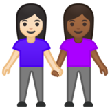 Women Holding Hands: Light Skin Tone, Medium-Dark Skin Tone on Google Android 10.0 March 2020 Feature Drop
