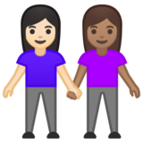 Women Holding Hands: Light Skin Tone, Medium Skin Tone on Google Android 10.0 March 2020 Feature Drop