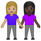 Women Holding Hands: Medium-Light Skin Tone, Dark Skin Tone on Google Android 10.0 March 2020 Feature Drop