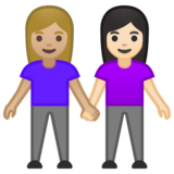 Women Holding Hands: Medium-Light Skin Tone, Light Skin Tone on Google Android 10.0 March 2020 Feature Drop