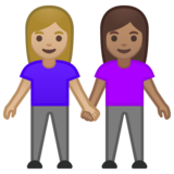 Women Holding Hands: Medium-Light Skin Tone, Medium Skin Tone on Google Android 10.0 March 2020 Feature Drop