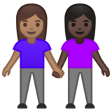 Women Holding Hands: Medium Skin Tone, Dark Skin Tone on Google Android 10.0 March 2020 Feature Drop