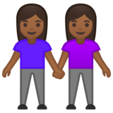 Women Holding Hands: Medium-Dark Skin Tone on Google Android 10.0 March 2020 Feature Drop