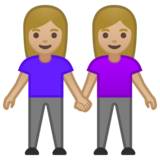 Women Holding Hands: Medium-Light Skin Tone on Google Android 10.0 March 2020 Feature Drop