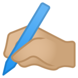 Writing Hand: Medium-Light Skin Tone on Google Android 10.0 March 2020 Feature Drop