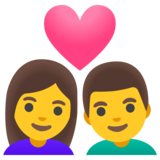 Couple with Heart: Woman, Man on Google Android 11.0