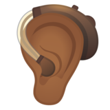 Ear with Hearing Aid: Medium-Dark Skin Tone on Google Android 11.0
