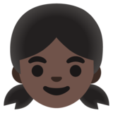 Girl: Dark Skin Tone on Google Android 11.0