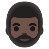 Person: Dark Skin Tone, Beard on Google Android 11.0