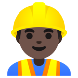 Man Construction Worker: Dark Skin Tone on Google Android 11.0
