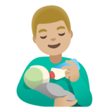 Man Feeding Baby: Medium-Light Skin Tone on Google Android 11.0