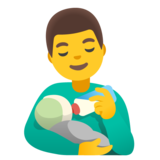 Man Feeding Baby on Google Android 11.0