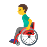 Man in Manual Wheelchair on Google Android 11.0