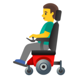 Man in Motorized Wheelchair on Google Android 11.0