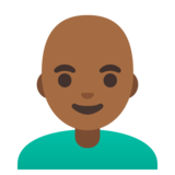 Man: Medium-Dark Skin Tone, Bald on Google Android 11.0