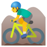 Man Mountain Biking on Google Android 11.0