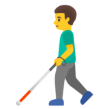 Man with White Cane on Google Android 11.0