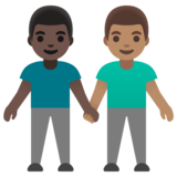 Men Holding Hands: Dark Skin Tone, Medium Skin Tone on Google Android 11.0