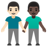 Men Holding Hands: Light Skin Tone, Dark Skin Tone on Google Android 11.0